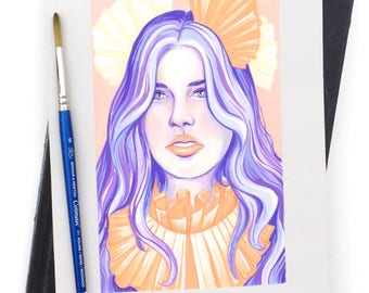 Violet - Original Gouache Painting / Fashion Illustration / Gouache Art