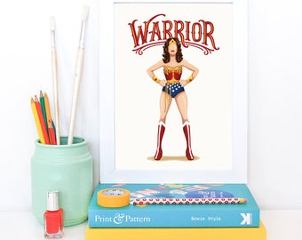 Wonder Woman Warrior Poster, Future is Female, Comics Gift for Her, Who Run the World, Superhero Pop Art, Justice League, Feminism Art Print