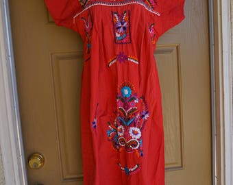 Hippie Boho Mexican Oaxacan Embroidered Floral Red Festival Mexico Small Medium Tent Dress Extra Large 70's 80's