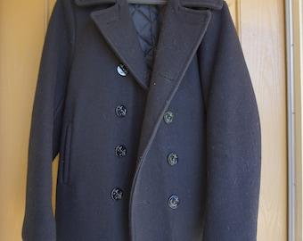 Genuine Vintage Wool Navy Pea Jacket Coat, Size 36 Mens U.S. 740N military small