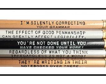Set of 5 Assorted Deluxe 2 line Grammar Pencils