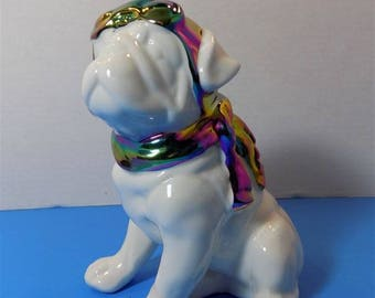 NEW Rare Ceramic Pilot Pug Bull Dog Figurine Animals Pet Collectibles Home Decor