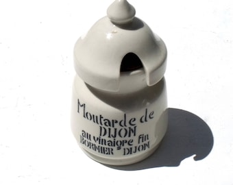 Vintage  French Ironstone large Moutarde Mustard Pot Jar Dijon l'ancienne complete with cork and lid 1930