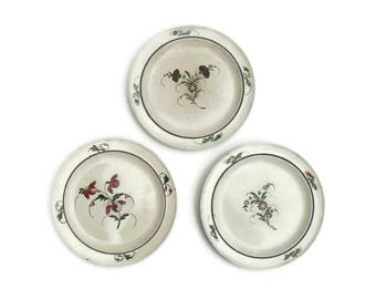 French Antique 18th Century Faience Plates x 3 Terre de fer Hand painted likely Bordeaux Luneville  tin glaze