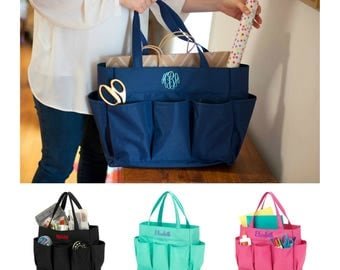 Amazing Monogrammed Tote Bag Organizing Utility Tote Personalized Diaper Bag  Teacher Bag Nursing Bag Gardening Bag Pink