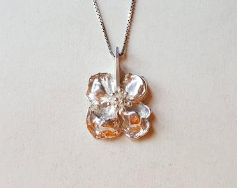 Vintage flower petal pendant, TEBON, Nyköping, Sweden, 1978 (F1011B)