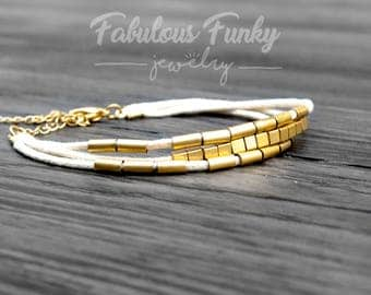 Summer bracelet - cream / gold