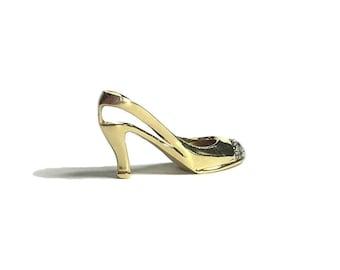 14k Yellow Gold Diamond Stiletto Pointed High Heel Pendant