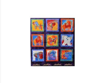 Laurel Burch Rare Oop EMBRACING HORSES Fabric Panel 22 X 23