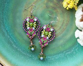 Floral macrame earrings, lucite flowers, beaded, micro-macrame jewelry, beadwork, bohemian, boho chic, gypsy, quartz, olivine green magenta