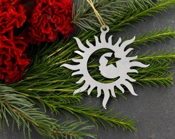 Love Sun Solar Eclipse Totality Christmas Ornament  Rustic Aluminum Holiday Gift for Her Him Fall Decor Wedding Favor Gift Home Iron Maid