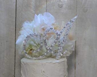 Pearl & Swarovski Crystal Monogram Cake Topper, Pearl Swarovski Crystal Wedding Cake Topper, Bling and Pearl Cake Topper, ANY letter