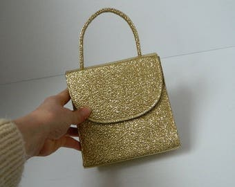 Vintage 1960s Gold Fabric Hand Bag with Mirror