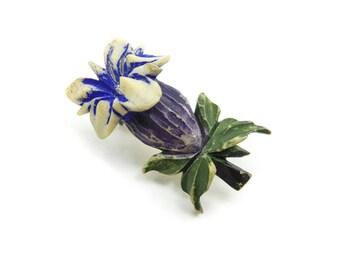 Vintage Gentian Flower Brooch, Hand Carved Bone