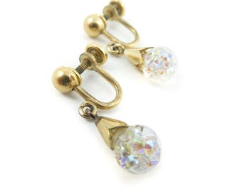 Vintage Crystal Ball Earrings, Drops, 12K Gold Filled, Screw Backs