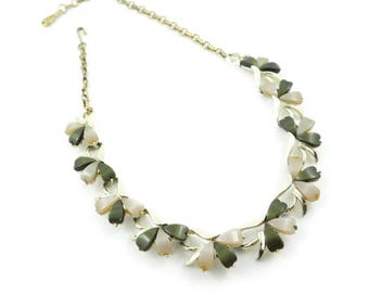 Vintage Coro Thermoset Necklace, Thermoplastic, Green, Signed
