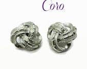 Coro Earrings, Vintage Silver Tone Celtic Knot Clip-on Earrings, Gift for Her
