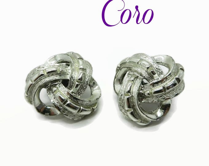 Coro Earrings, Vintage Silver Tone Celtic Knot Clip-on Earrings, Gift for Her, FREE SHIPPING