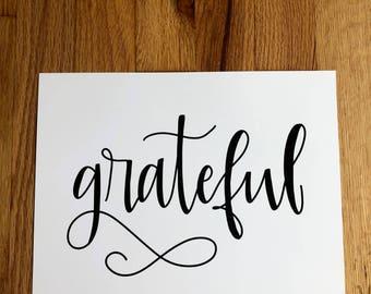 GRATEFUL Hand-Lettered Print