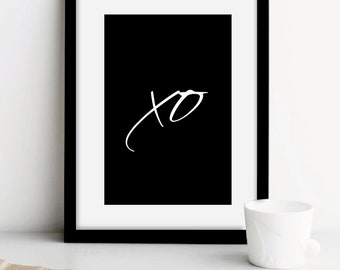 "XO print, wall art quotes, quote prints, wall prints, ""XO"" Hugs and Kisses, Home wall art, custom large poster, bedroom poster, black white"