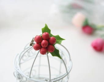 Christmas ring, Christmas jewelry, Christmas gifts, Polymer clay ring, Holly berry ring, Berry ring, Holiday ring, xmas gifts
