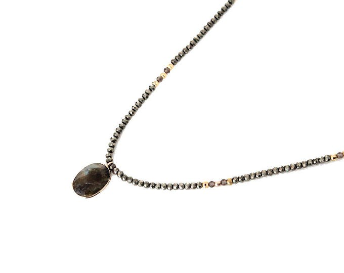 with a labradorite and Hematite necklace