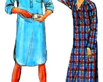 Vintage 1970s Unisex Butterick 6843  Night Shirt Sewing Pattern