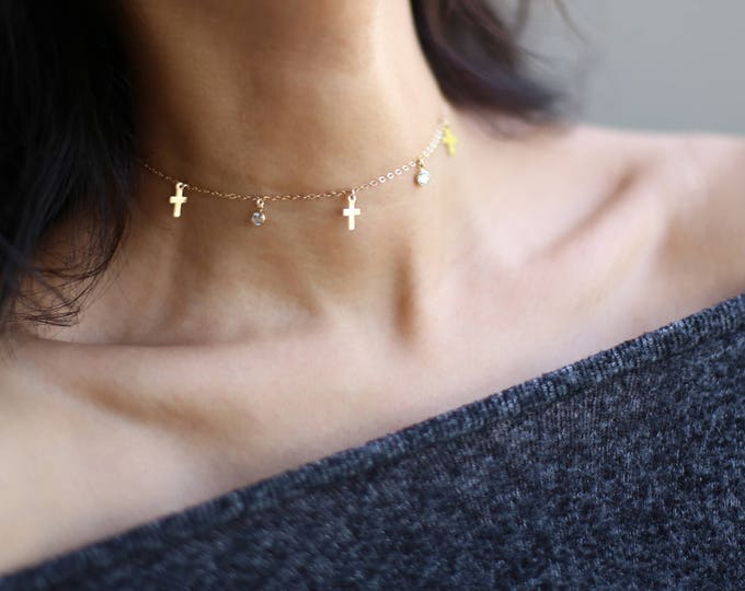 cross and CZ Dangle Choker // Delicate Gold Silver Choker Necklace