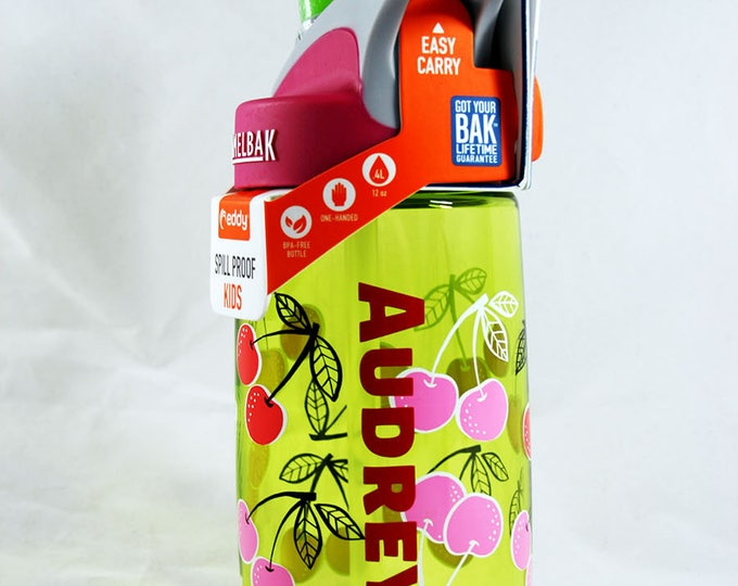 Personalized .4L Kid's Cherries Camelbak Bottle - Water Bottle, Hydrate, Bite Valve, Student, Toddler, Back To School Cute