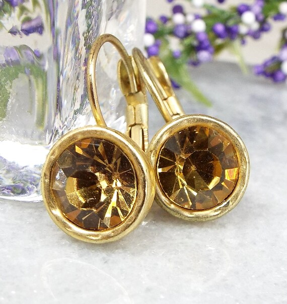Vintage / Art Deco Brushed Gold Golden Citrine Glass Hook Drop Dangle Earrings