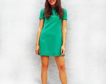 60s Mod Dress, Tailored Mini Dress, Kitty Copeland Dress, Green Dress, Dress With Sleeves, Wool Dress, 60s Shift Dress, Day Dress, Fitted