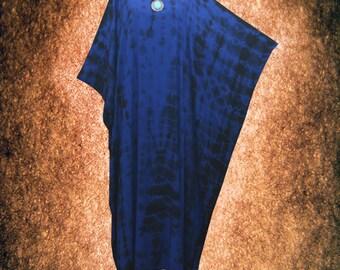 Tradition Japanese Shibori Hand Dyed Artwork Kaftan Dress Plus Size