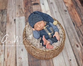 Newborn Photo Prop, Newborn Boy Outfit, Newborn Romper, Sleepy Hat, Navy Blue, Camel, Baby Outfit, Newborn Props, Newborn Hat, Newborn Pants