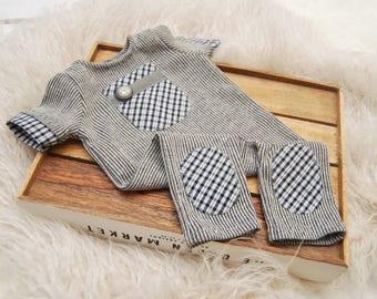 Newborn Prop, Newborn Romper, Boy Overall, Newborn Boy Romper, Newborn Photo Prop, Baby Props, Baby Boy Birth Props, Take Home Outfit, 125