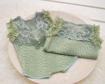 Newborn Lace Romper, Newborn Photo Props, Newborn Prop, Baby Girl Outfit, Photo Outfit, Newborn Romper, Romper Prop, Lace Outfit, Green, 174