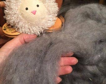 4oz Grey Luxury Angora Roving Blend- Sparkle - For Spinning And Felting