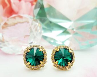 Green Crystal Earrings ~ Emerald Earrings ~ Green Rhinestone Earrings ~ May Birthstone Jewelry ~ Dark Green Earrings ~ Swarovski Studs E3340