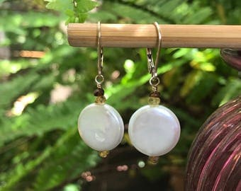 Coin Pearl, Coin Pearl Earrings, Pearl Earrings, Pearl, White Pearl, Tourmaline, Gold Earrings, Dressy Earrings, Everyday Earrings