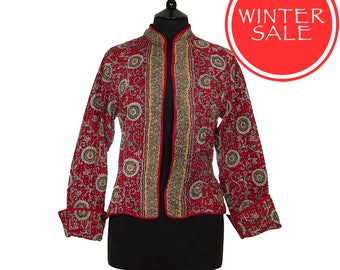 WINTER SALE - Medium size - Short Kantha Jacket - Red with grey. Reverse the same design.