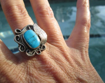 Turquoise and Sterling Silver Feather Ring Size 9.5