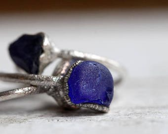 Sea Glass Ring Electroformed Jewelry Electroformed Silver Ring Cobalt Blue Beach Glass Ring Simple Stacking Ring