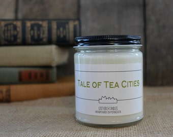 Tale of Tea Cities - Book Inspired Scented Soy Candles -  8oz glass jar