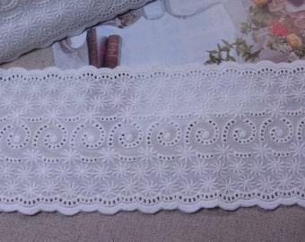 Cotton Lace Trims  Crochet  Flowers Cotton White 10.5cm Wide 1yd  #1360