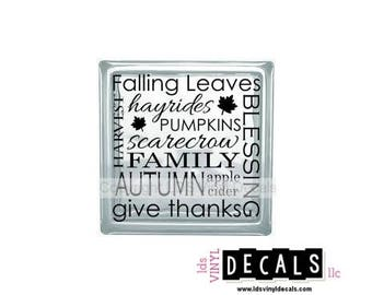 Falling Leaves hayrides HARVEST PUMPKINS scarecrow Family Autumn BLESSING apple pie... - Vinyl Lettering for Glass Blocks - Craft Decals
