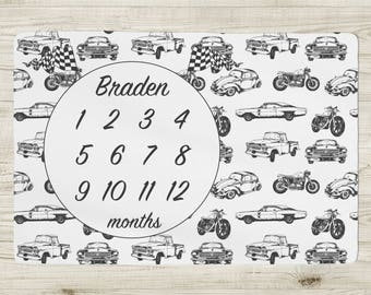 Personalized Monthly Milestone Baby Blanket - vintage cars and motorcycles, customized, monogram baby blanket, baby boy gift