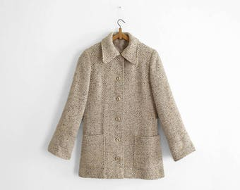 1970s Women coat - Woven Wool - Heather Beige/khaki