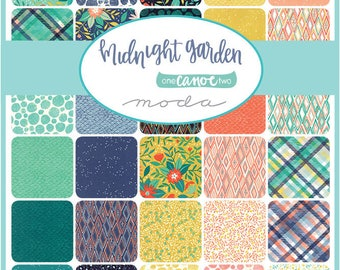 Fat Quarter Bundle 34 fq's MIDNIGHT GARDEN By One CANOE Two  For Moda Fabric