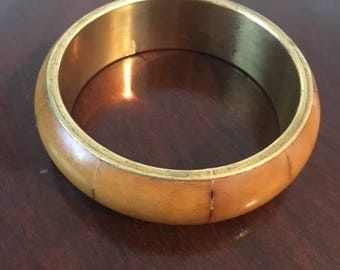 Vintage Caramel Bone and Brass Bangle