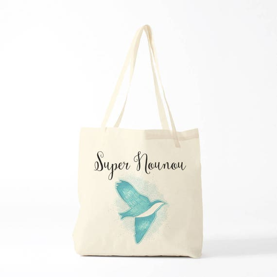 Great Nanny, blue version, custom tote bag, gift nanny, gift thank you, custom bag, write what you like !