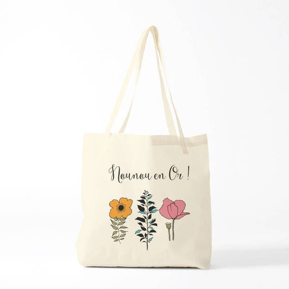 Tote bag Golden Nanny, french version, pink and orange (you can ask to custom it, just email me)